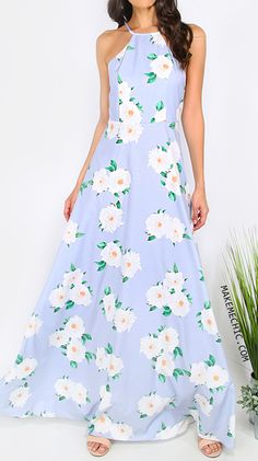 Floral Print Square Neck Maxi Dress BLUE