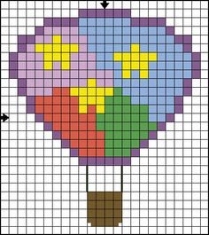 free beginner stitch patterns | Free Cross Stitch Pattern for Beginners - Hot Air Balloon - Solid ...