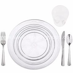80 Full table Settings Plates Cups Cutlery WEDDING SPECIAL Disposable Plastic  sc 1 st  Pinterest & Elegant Plastic Dinnerware Sets Elegant Disposable Dinnerware ...