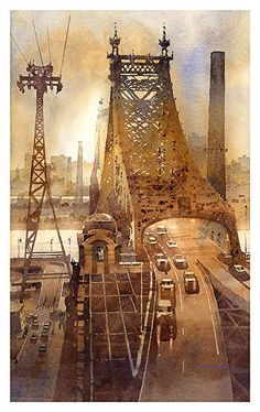 "59th Street Bridge to Roosevelt Island by Iain Stewart Watercolor ~ 20"" x 12"""