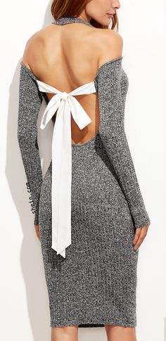 Grey Marled Knit Cold Shoulder Cutout Tie Back Pencil Dress