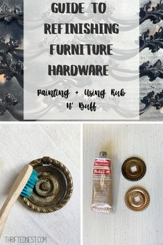 A beginners guide to refinishing furniture hardware Learn how to clean hardware and prepare it for paint Using original hardware adds unique charact 8230 Types Of Furniture, How To Clean Furniture, Paint Furniture, Furniture Makeover, Furniture Ideas, Nest Furniture, Dresser Makeovers, Furniture Refinishing, Dresser Hardware