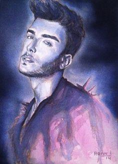 'Toni Mahfud' ink portrait - 13cm x 18cm - paper