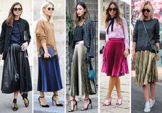 Como usar saia plissada colorida ou metalizada