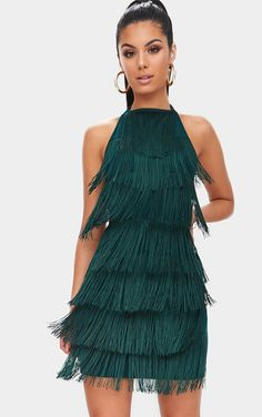 cac77b7fcec Emerald Green Tassel Detail Halterneck Bodycon Dress. prettylittlething.com