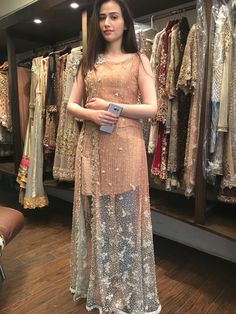458320 Beige and Brown color family Bollywood Salwar Kameez in Faux Georgette fabric with Lace,Machine Embroidery,Stone,Thread work . Shadi Dresses, Pakistani Formal Dresses, Pakistani Wedding Outfits, Pakistani Dress Design, Indian Dresses, Indian Outfits, Western Dresses, Indian Clothes, Stylish Dresses
