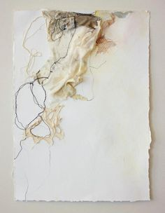 """To the Side; machine embroidery, lace, and mixed media on paper ; 16"""" x 20"""" (floated in frame to see torn paper edges) SOLD #art #artist #deeannrieves www.deeannrieves.com"""