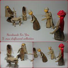 Driftwood christmas decoration. Driftwood nativity scene