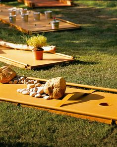 Adam would love this!  Mini Golf Garden - Paths are lined with obstacles. They can be treated by theme, as here, with a journey rather mineral, another wood...