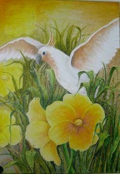 'Papagei im Blumenbeet ' in Grossansicht