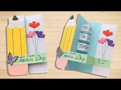 DIY Teacher's Day Pop Up card/ Handmade Teachers day card making idea – YouT… DIY Teacher's Day Pop Up card/ … Handmade Teachers Day Cards, Greeting Cards For Teachers, Teachers Day Greetings, Teacher Thank You Cards, Teachers Day Gifts, Birthday Greeting Cards Handmade, Pop Up Greeting Cards, Presents For Teachers, Making Greeting Cards