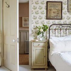 antique bedroom, green wallpaper, antique white, crisp white