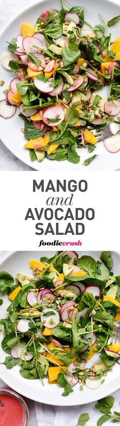 The combination of nutrient-packed spinach and antioxidant rich mango, radish and avocado makes this a super superfood salad with a tangy ginger and berry dressing #salad #mango #avocado #detox | foodiecrush.com