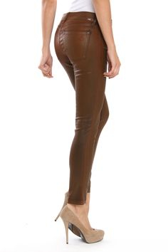 Cognac Leggings just how I'd wear them...w/ sky high heels