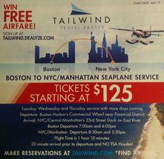 Boston to NY by seaplane