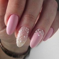 @pelikh_ideas nails Lace Nails, Pink Nails, Glitter Nails, My Nails, Wedding Day Nails, Bride Nails, Gelish Nails, Dream Nails, Elegant Nails