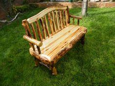 Rustic Aspen Log Benches
