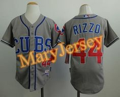 """$23.88 at """"MaryJersey""""(maryjerseyelway@gmail.com) Cubs 44 Anthony Rizzo Grey Alternate Road Cool Base Stitched Youth Baseball Jersey"""