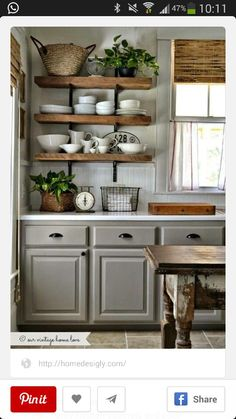 LOVE these simple upcycled kitchen shelves