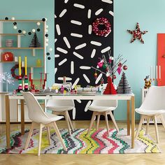 Classic Christmas is currently winning in our tug of war. Tweet #HabitatUK with either #classicchristmas or #contemporarychristmas for your chance to win. Here the stripey Strata rug shows off the contemporary look. by habitatuk
