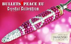 Peaceful Words, Bullet Casing, Crystal Collection, Clear Crystal, Swarovski Crystals, Silver Jewelry, Fashion Jewelry, Beaded Bracelets, Pendants