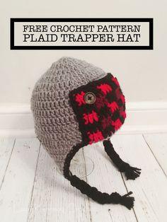 75fc8b1b70b Free crochet pattern for a buffalo plaid trapper hat in sizes infant  through child. Crochet