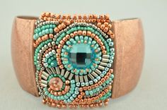 Beaded Bead Embroidered Cuff  Copper and by LiTelleJewelry on Etsy, $69.00