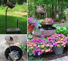 Repurpose Old Teapot into Garden Fountain #diy #garden
