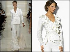 wedding pant suits for bride...Nice, add embellishments that fit your style.
