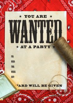 Free printable: Wanted poster invitation + tutorial for aging paper with coffee {onecharmingparty.com}