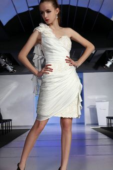 Eine Schulter Chiffon Rüschen seite drapiertes ärmelloses mittellanges Homecoming Kleid mit Perlen - Vorderseite