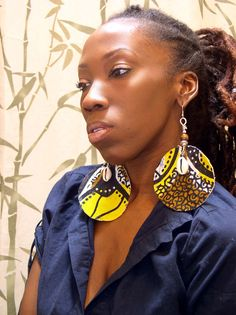 African Earrings | SOUL FLOW African BAtik Fabric Earrings by LotusRootsCreations