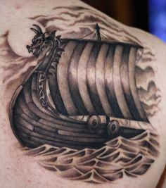 Boat of vikings tattoo on shoulder blade Viking Ship Tattoo, Viking Tattoos For Men, Viking Warrior Tattoos, Viking Tattoo Symbol, Norse Tattoo, Viking Tattoo Design, Tattoos For Guys, Rune Tattoo, Body Art Tattoos