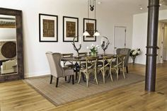 Wonderful Dining Room Design And Decoration With Rustic Chic Dining Table : Fancy Image Of Dining Room Decoration Using Rustic Rattan Wood Dining Chair Including Rectangular Light Brown Rug Under Dining Table And Rectangular Solid Light Oak Wood Rustic Chic Dining Table