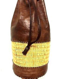 Handmade Leather & Straw Cylinder Backpack Rugged Rustic Travel handbag Rucksack