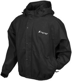 """Frogg Toggs Pro Action: Fully adjustable, attached, tuck away hood with zip closure.  1"""" elastic waistband and wristbands.  Front zipper closure.  Snap shut storm flaps.  Zippered hand warmer pockets."""