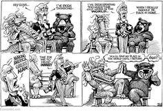 """""""El que se fue a la villa perdió su silla"""" de Kevin Kal Kallaugher vía The Economist"""