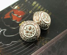 Flower Carving Metal Buttons , Copper White Color , Flat Cone Shaped , Shank , 0.59 inch , 10 pcs on Etsy, $6.00