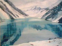 """""""La laguna del Inca"""" (en medio de la Cordillera de Los Andes)."""