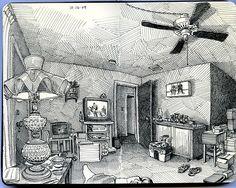 Paul Heaston blog  living room on beryl I love his panoramic perspective