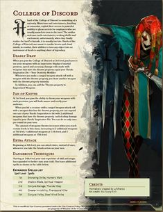 Homebrewing dnd College of Discord (former, College of impalement and college of blades. Dungeons And Dragons Rules, Dungeons And Dragons Classes, Dnd Dragons, Dungeons And Dragons Characters, Dungeons And Dragons Homebrew, Dnd Characters, Dnd Bard, Dnd Stats, Dungeon Master's Guide