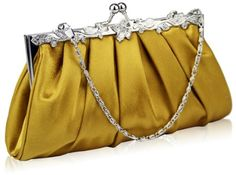 Elegant Gold Soft Touch Bridal Prom Party Vintage Evening Clutch Bag (22cm x  - Click image twice for more info - See a larger selection of Bridal Clutches at  http://zweddingsupply.com/product-category/bridal-clutches/  - woman, woman fashion, wedding, wedding fashion, wedding style, wedding clutch bag, wedding evening bag
