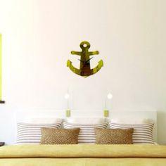 Nalepovacie hodiny na stenu zlatá kotva , nálepka na stenu .