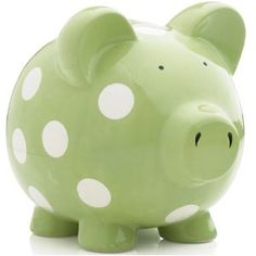 Elegant Baby Huge Pig Bank with White Polka Dots