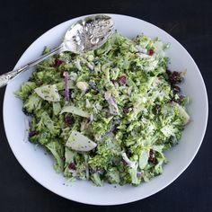 Shaved Broccoli Salad by tasteloveandnourish #Salad #Broccoli
