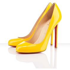 Christian Louboutin - lady lynch, patent leather, poussin, yellow,... ❤ liked on Polyvore