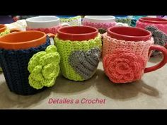 🌹Detalles a Crochet Forro Para Tazas Decoradas❤ - YouTube Eyeglass Holder, Crochet Stitches, Make It Yourself, Mugs, Pattern, Blog, Youtube, Ideas Para, Crocheting