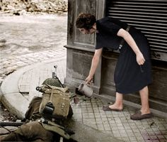 https://www.facebook.com/World-War-Colorisation-790508287736232/ Lisieux, Calvados, Lower Normandy, France. 22 August 1944. a British soldier with a cup of tea during the fighting following the Allied...