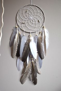 Dream Catcher Silver, Feather Dream Catcher Wall Hanging Decor, Native American Style, Gray Silver Bedroom Tribal Dream Catcher Decor