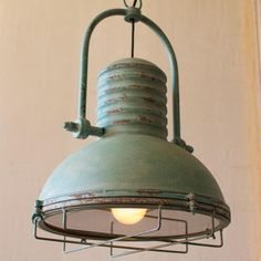 How To Start A Home Decor Line Antique turquoise pendant light - A little bit rustic and a whole lot of style. This antique pendant light with an aged turquoise finish will add a great touch Rustic Kitchen Lighting, Farmhouse Lighting, Industrial Lighting, Home Lighting, Rustic Farmhouse, Lighting Ideas, Farmhouse Style, Antique Lighting, Garage Lighting